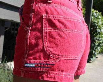 Tommy Hilfiger Womens Vintage Red Shorts Tommy Hilfiger Red Cotton Shorts Carpenter style Leather Tommy Hilfiger Patch Mid Rise