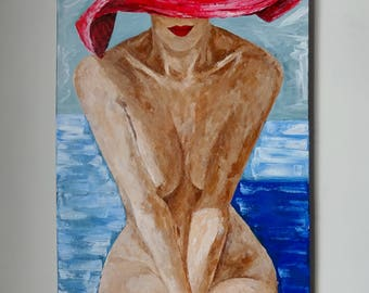 Nude Hat Painting  Modern Nude Painting Woman Erotic Art Abstract Original Art Modern Painting on Canvas Female Nude Acrylic Painting