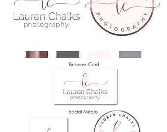 Watercolor Logo Design, Rose Gold Logo, Branding kit, Calligraphy, Branding Package, Stamp, Photography Logo, Watermark Logo, Logo Design