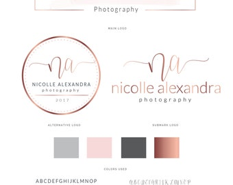 Watercolor Logo Design, Rose Gold Logo , Branding kit, Calligraphy, Branding Package, Stamp, Photography Logo, Watermark Logo, Logo,