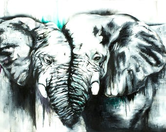 Elephants Oil Painting Print - 'Elephants in Love'