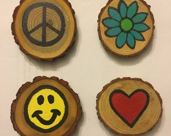 Peace Love and Happiness Magnet Set, Stocking Stuffer, Gift Idea, Under 15, Hand Painted Magnets, Wood Magnets