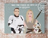 Custom Family Portrait Star Wars Theme / Star Wars Gift / Newly Wed / Star Wars Custom Illustration Portrait / Personalized Valentines Gift