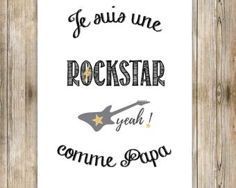 """A4 poster for child's room """"Rockstar"""""""
