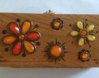 Vintage Enid Collins Wooden Clutch Purse Les Flewes orange