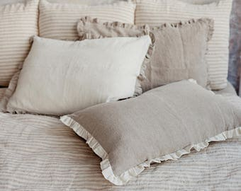 Ruffled linen pillow sham. Stone washed shams. Natural linen colour and off white/ optical white