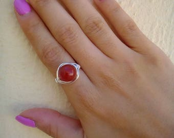 Carnelian Ring, Gemstone Ring, Silver Carnelian Ring, Wire Wrapped Ring, Tarnish Resistant Ring