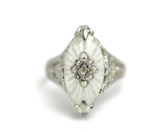 Vintage 1920s Art Deco Marquise Camphor Glass, Diamond and Sterling Silver Filigree Flower Ring Size 7.5