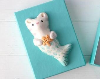Mermaid Cat Purrmaid  Merkitty Holding Starfish. Brooch Handmade Ceramic Mermaid Cat With Gold Dipped Safety Pin.