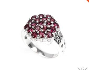 Rhodolite Ring. Genuine Natural earth mined Pink Rhodolite Garnet round 925 Sterling Silver Rhodolite Jewelry gemstone Ring 7.25 see VIDEO