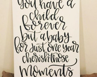 Nursery canvas sign/Custom baby sign/Nursery wall decor/Baby canvas sign/Personalized baby sign/Handlettered nursery sign/baby shower gift