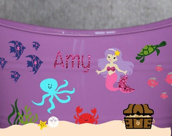 Personalized Bucket - mermaid Party - Personalized Basket - Birthday Party Favors - Kids Buckets