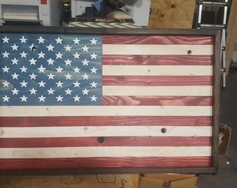 Rustic wooden American Flag, reclaimed and handmade by veterans. Veteran made in USA!!!