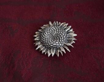 Breakell Sterling Silver Sunflower Brooch