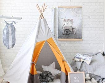 Mustard and Grey Teepee, play tent, tipi, kids tent, Lulo Kids