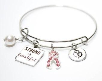 breast cancer bracelet, breast cancer bangle, breast cancer jewelry, breast cancer initial bracelet, breast cancer survivor bracelet