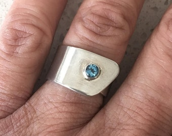Sterling Silver Band Ring - Blue Topaz Ring - Minimalist Ring
