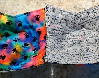Cat and kitten microwave bowl holder, pet paw prints, multicolored and gray, reversible, washable, college dorms, bowl cozy