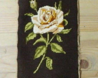 flower tapestry, flower canvas, flower needlepoint, needlepoint canvas, needlepoint tapestry, Made in France, finished needlepoint, flowers,