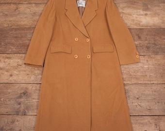Womens Vintage Burberry Prorsum 1970s Beige Wool Over Coat Large 14 R6496