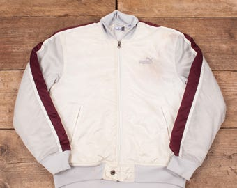 "Mens Vintage Puma White Nylon Spellout Sports Bomber Jacket Small 36"" R7134"