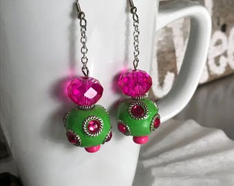 Earrings, bright, accessories, green and pink