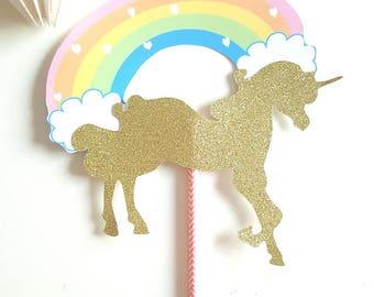 Rainbow Unicorn on straw - candy bar decoration