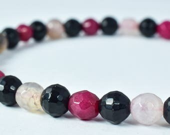 7mm Ruby Mixed Colored Agate Round Stones,Stone Beads