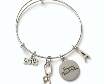 Retirement Gift for Nurse, Charm Bracelet 2018 RN LPN NP Doctor Assistant Jewelry Silver Bangle, Coworker initial women initial custom vet