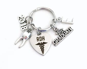 RDH Graduation Gift, 2018 Registered Dental Hygienist Keychain for Dental Student Grad Key Chain Keyring Graduate Tooth charm Her him Women