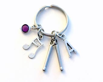 Gift for Drummer Keychain, Percussion Key Chain, Drumstick Keyring, Drum Stick Letter Men Him Initial Birthstone Present Jewelry band geek