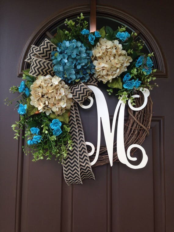 Modern Summer Wreath For The Front Door Spring Wreath Blue