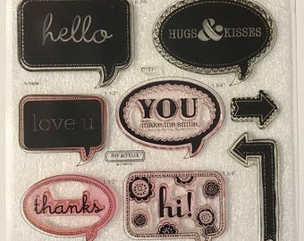 D1531 / Artiste / Stamp Set / Close To My Heart / CTMH / Acrylic Stamp Set / Clear Stamp Set / Cricut Collection / Speech Bubbles