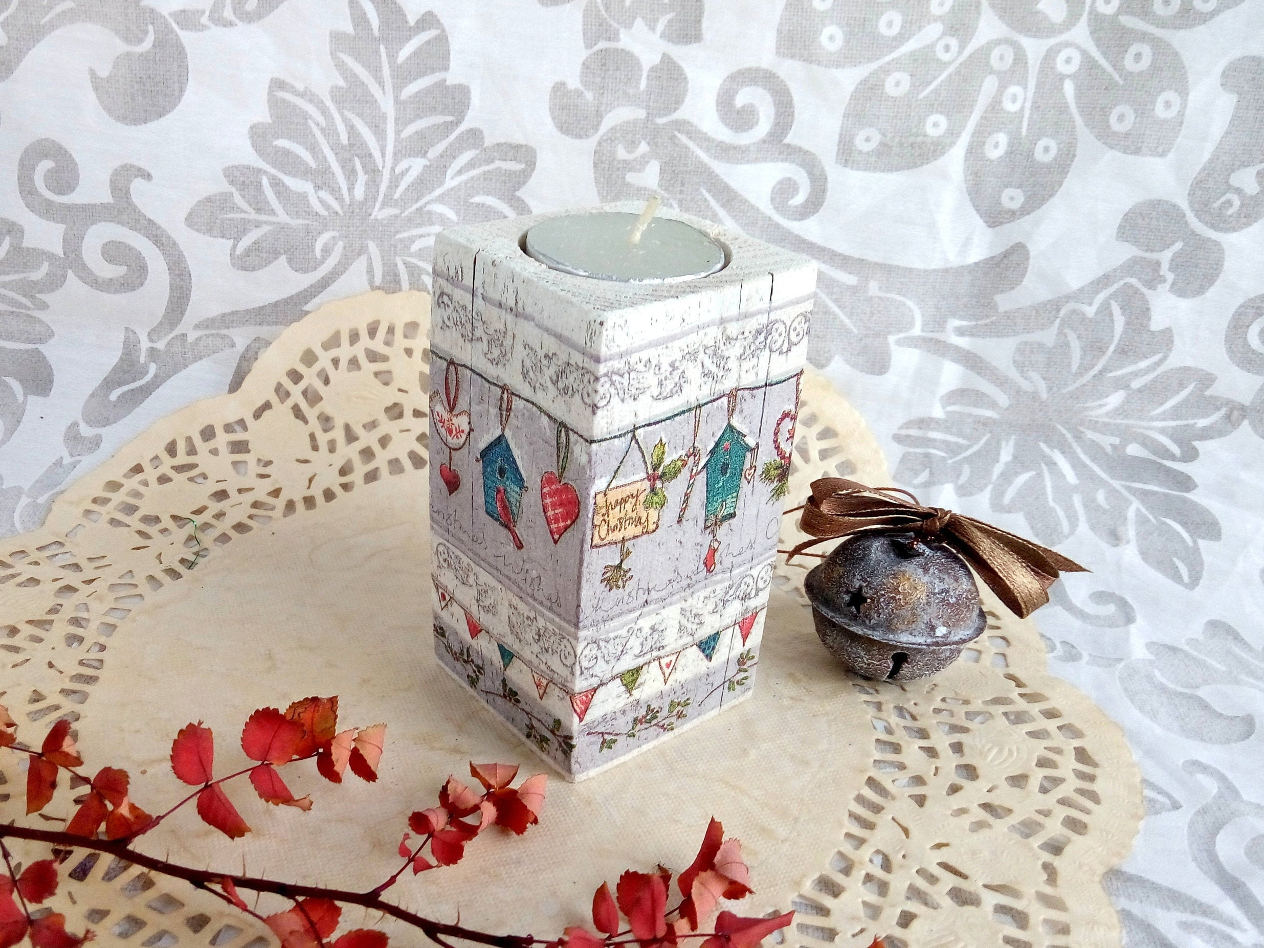 Christmas Tealight Wooden White Candle Holder Fun/ Rustic Shabby ...
