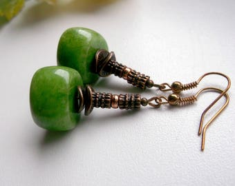 Green Quartz Dangle Green Earrings Copper Dangle Design Inspired Design Earrings Boho Dangle Bohemian Jewelry Elegant Dangle Birthday Gift