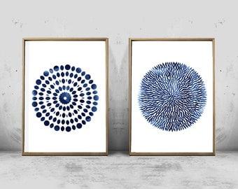 Abstract Watercolor Set of 2 Prints Mandala Circle Geometric art Indigo Blue art Navy Boho Decor Nautical Minimalist Scandinavian printable