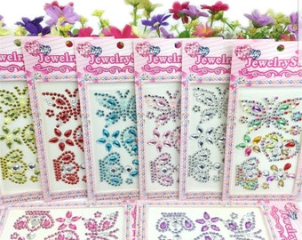 5 Sheets Rhinestone Stickers, 5 difference color sheets (see photos)