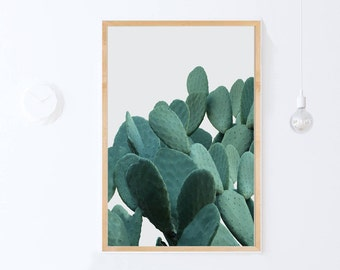 Green Cactus Art, Cactus Decor, Cactus Wall Art Print, Cactus Photo Print INSTANT DOWNLOAD Art, Botanical Print, Plant Printable Art 24x36