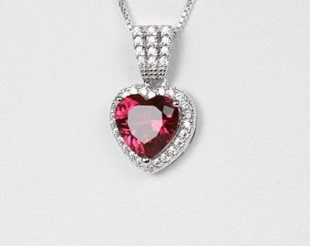 Ruby Sterling Silver Necklace / Ruby Necklace with Diamond Accents / Pendant