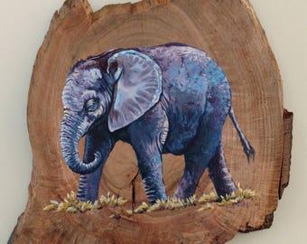 Elephant on Reclaimed Walnut
