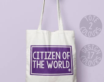 Citizen of the world, strong tote bag, teen girl, gift for women, activist, demonstration, motivation, USA good cause, refugees welcome
