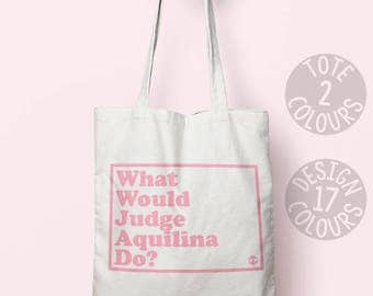 Judge Aquilina canvas tote bag, strong woman gift, womens rights, gift for feminist, unsung hero, gymnast, superhero bag, activist tote