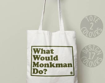 Monkman canvas tote bag, reusable tote bag, University Challenge, gift for girl, gift ideas for mum, present for her, Cambridge Eric Monkman