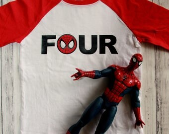 Spiderman Birthday Shirt, Superhero Birthday Shirt, 4th Birthday Shirt, Four Shirt,Boy 4th Birthday, 4 Shirt, Four Birthday Boy Shirt