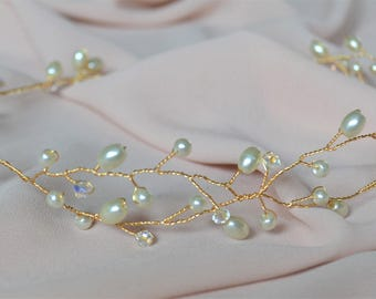 Bridal hair vine in either gold or silver, pearl and crystal hairpiece available in varying lengths