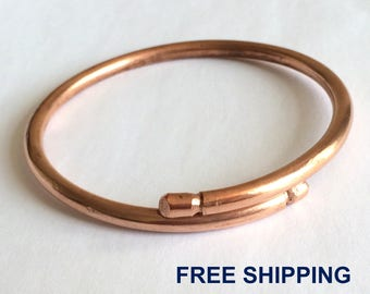 Healing Raw Copper Bracelet - Adjustable Copper Bangle - Solid - Unisex