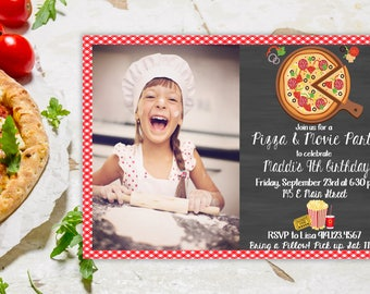 Pizza and Movie Party Invitation, Pizza Party, Pizza Movie Night, Pizza Birthday Party, Pizza & Movie Invite, Sleepover Birthday Party
