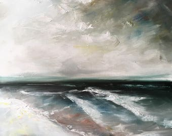 Moody, Original Cloudy Seascape Oil Painting on Canvas