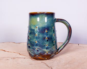 Forest Green Tufted Texture Handmade Coffee Pottery Mug