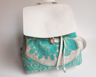 Original White Leather Women Backpack, Leather and Tapestry Backpack, Girls rucksack, City Backpack, Urban Unique Backpack, Flap Backpack
